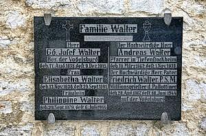 Familie Walter Gedenktafel